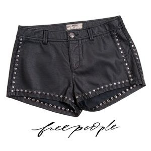 Free People Faux Leather Shorts with Studs - EUC
